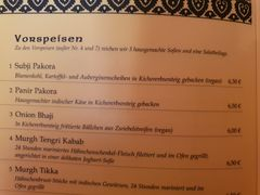 A menu of Restaurant Gandhi