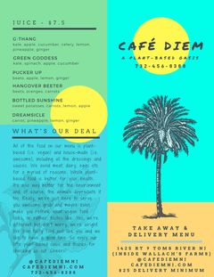 A menu of Café Diem