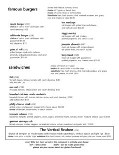 A menu of Vertical Diner on 1st