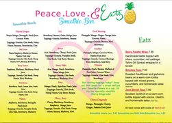A menu of Peace. Love. & Eatz Smoothie Bar