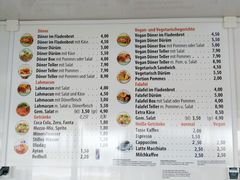 A menu of Salim's Kebab
