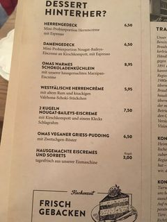A menu of Grosser Kiepenkerl