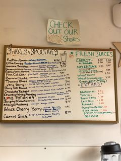 A menu of South Shore Health Food