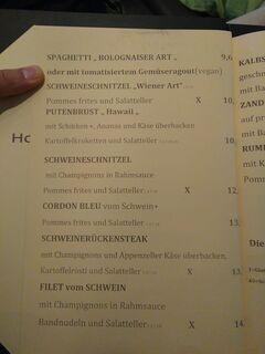 A menu of Deutsches Haus