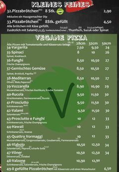 A menu of Pizzeria Nero