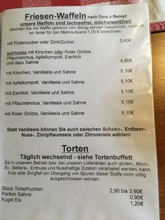 A menu of Föhrer Teestube & Cafe