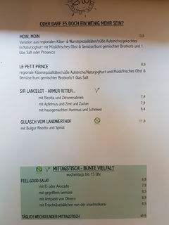 A menu of Südwest