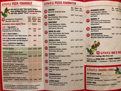 A menu of Gator's Pizza