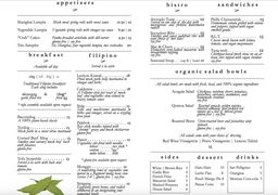 A menu of Nick's on Grand
