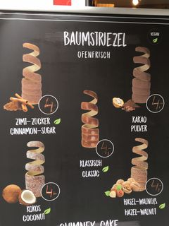 A menu of Kitty's Baumstriezel