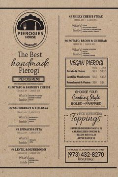 A menu of Pierogies House
