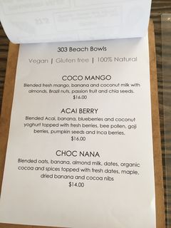 A menu of 303 By the Sea