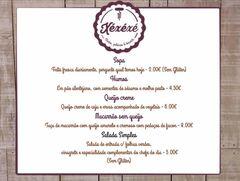 A menu of O Xéxéxé