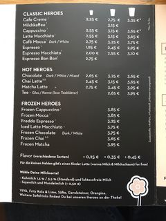 A menu of Baristaz
