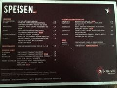A menu of Café Klatsch