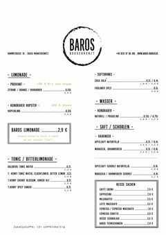A menu of Baros