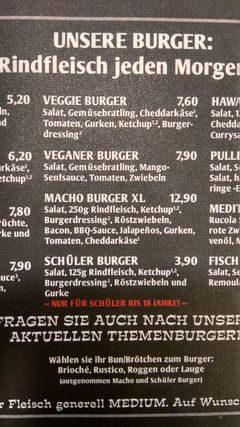 A menu of Varlemann's Burger Grill