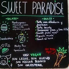 A menu of Sweet Paradise
