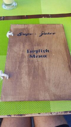 A menu of Super Juice