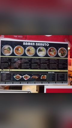 A menu of Ramen Naruto