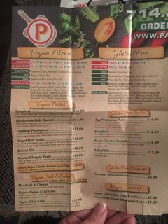 A menu of Papa Pizza Pie, Glendora