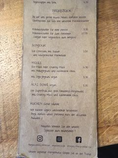 A menu of Angie's Mocca