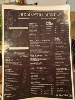 A menu of The Organic Boho