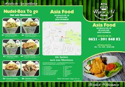 A menu of Asia Food Uyen Ni