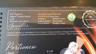 A menu of Eis Dolomiti