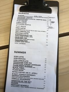 A menu of Kaffeesaurus