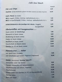 A menu of Cafe Soul Beach