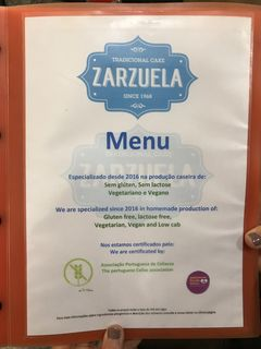 A menu of Zarzuela