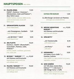 A menu of Zeil Kitchen