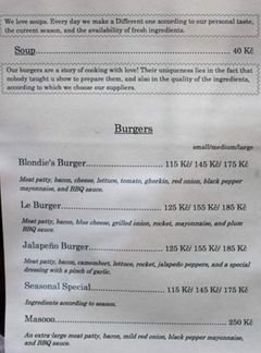 A menu of Blondie's Burger