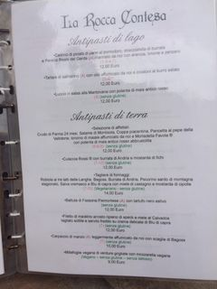 A menu of La Rocca Contesa