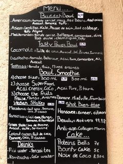 A menu of Açai Spot