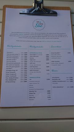 A menu of Café Sue