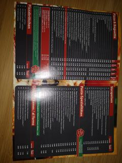 A menu of Pizzeria Corona