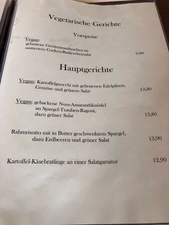 A menu of Landhotel Hirschen