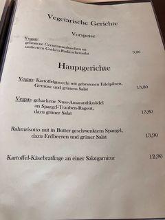 A menu of Landhotel Hirschen