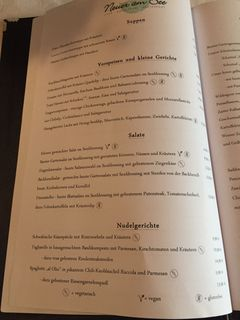 A menu of Hotel Neuer Am See