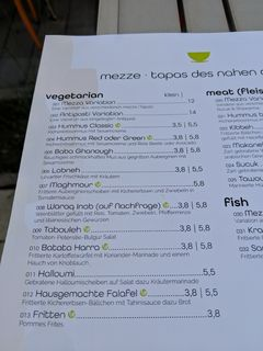 A menu of Mezza