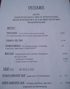 A menu of Flieger