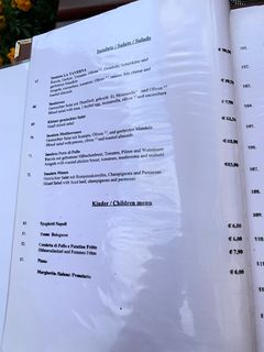 A menu of La Taverna