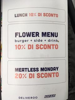 A menu of Flower Burger