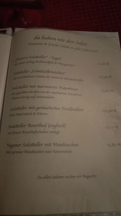 A menu of Landhaus Zimmermann