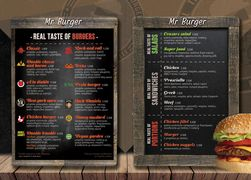 A menu of Mr Burger