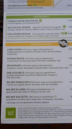 A menu of Fritz Braugasthaus, Greifswald
