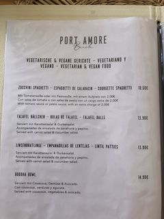 A menu of Port Amore