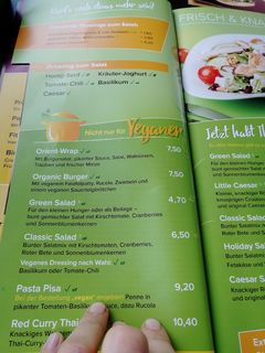 A menu of Cafe Del Sol, Mönchengladbach